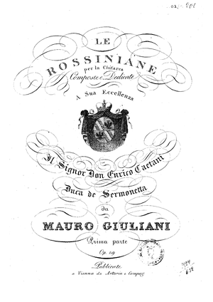 Mauro Giuliani - Original Cover of Part 1 of Giuliani's Le Rossiniane