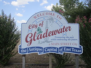 Gladewater, Texas - Gladewater welcome sign