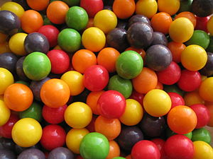 A pile of colorful candy jawbreakers. These we...