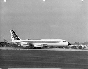 Convair 880 - One of the first 880s, in the factory gold, white, and black scheme