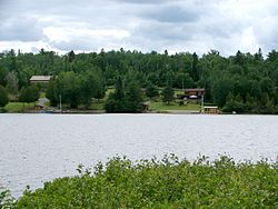 Lookout Point Lodge, seen from Gowganda Lake at Gowganda