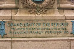 Monument in honor of the Grand Army of the Republic, organized after the war.