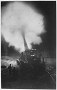 Greatest French gun (320mm) at moment of firing during a night bombardment. The belch of smoke from the explosion of... - NARA - 533675.tif