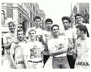 Grey Organisation - Young members of Red Wedge wearing Grey Organisation t-shirts designed for the Labour Party, 1987.