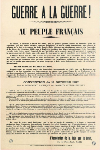 Peace Through Law Association - ADP poster calling for War on War! Issued at the start of World War I.