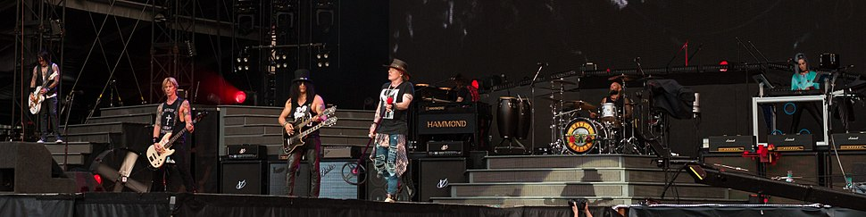 Guns N' Roses playing in London in 2017. From left to right, Richard Fortus, Duff McKagan, Slash, Axl Rose, Dizzy Reed, Frank Ferrer, Melissa Reese