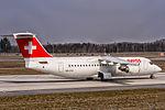 HB-IXU Swiss British Aerospace Avro RJ100 arriving from Zurich (LSZH) @ Frankfurt (EDDF) - 08.04.2015 (16643199393).jpg