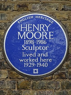 Henry moore 1898 1986 sculptor lived and worked here 1929 1940