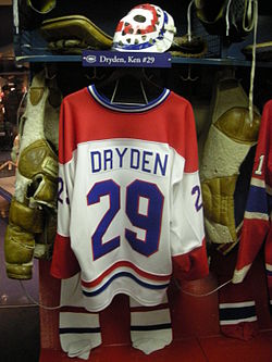 HHOF July 2010 Canadiens locker 17 (Dryden).JPG