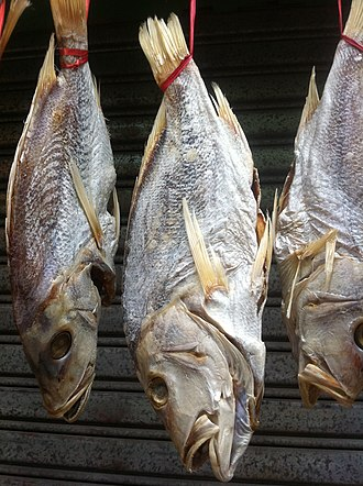 Salt-cured meat - Salted dried fish sold on a Hong Kong street