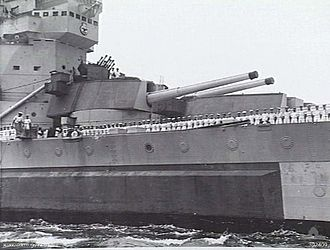 King George V-class battleship (1939) - The external vertical armour belt is clearly visible here on Howe