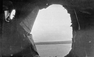 HMS Castor (1915) - Large shell hole in the side of Castor after the Battle of Jutland