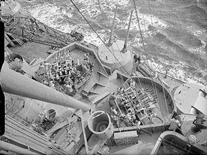 HMS Prince of Wales pom-poms and 5.25 inch guns IWM A 3904.jpg
