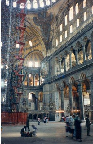 Tribune (architecture) - Interior of the Hagia Sophia. In this example the tribune is the first floor gallery beneath the clerestory