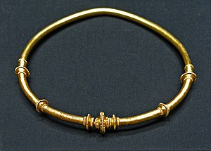 Vandals - Neck ring with plug clasp from the Vandalic Treasure of Osztrópataka displayed at the Kunsthistorisches Museum in Vienna, Austria.
