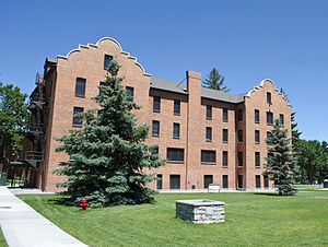Montana State University - Mission Revival-style Hamilton Hall, the first campus dormitory, constructed in 1910.