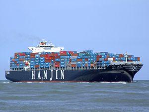 Hanjin Tianjin p2 approaching Port of Rotterdam, Holland 08-Jul-2007.jpg
