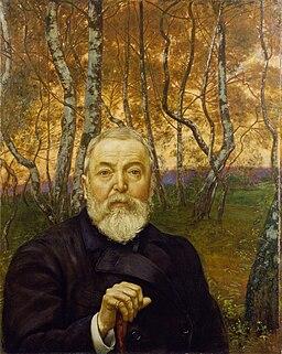 Hans Thoma - Selbstbildnis vor Birkenwald (1899)