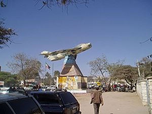 A civil war-era plane monument in the center of Hargeisa.
