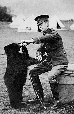 Harry Colebourn and Winnie, the bear from which Winnie-the-Pooh got his name Harry Colebourne and Winnie.jpg