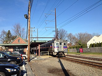 Hatboro, Pennsylvania - A SEPTA Regional Rail train on the Warminster Line stops at the Hatboro station