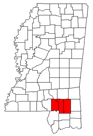 Hattiesburg metropolitan area - Map of Mississippi highlighting the Hattiesburg metropolitan area