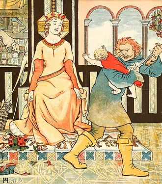 Griselda (folklore) - One of Griselda's children is taken away from her in an illustration from Eliza Haweis' 1882 book Chaucer for Children