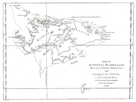 1773 Map by J. Hawkesworth and J. Byron showing Hawkins' discovery Hawkesworth-Byron-Map.PNG