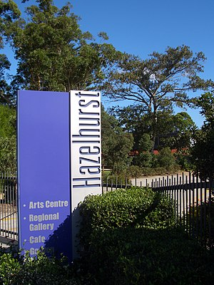 Hazelhurst Regional Gallery and Arts Centre - Hazelhurst Gallery sign, as viewed from The Kingsway.