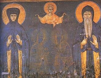Helen of Anjou - Helena and her son, King Stefan Milutin, a fresco from Gračanica monastery