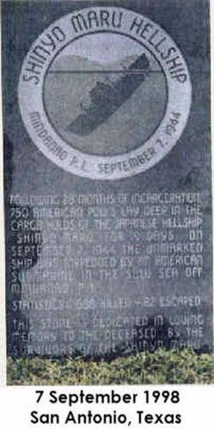 "Shin'yō Maru incident - A second ""Hell Ship"" plaque in San Antonio, Texas dedicated on the 54th anniversary of the incident."