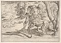 Hercules and the Nemean Lion- Hercules grasps the front right leg of the lion, which lifts its snout upward, in the middle ground Hercules pulls the skin from the lion's corpse, from the series 'The Labors of Hercules' MET DP832530.jpg