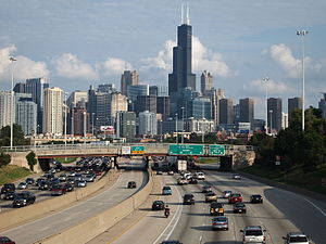 Kennedy Expressway - An eastbound view of the Kennedy Expressway heading toward downtown Chicago