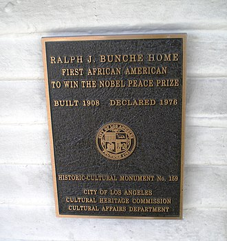 Ralph J. Bunche House - Bunche House Los Angeles Historic-Cultural Monument marker.