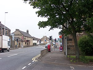 Holytown - The Main Street in Holytown as viewed from the far west side (from the Post Office).