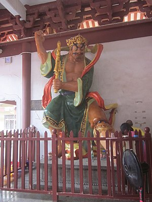 Hall of Shanmen - General Heng (哼將軍) inside in the Shanmen Hall of Hongfa Temple, in Shenzhen, Guangdong, China.