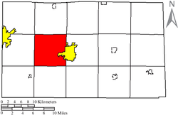Location of Hopewell Township (red) in Seneca County, adjacent to the city of Tiffin (yellow).