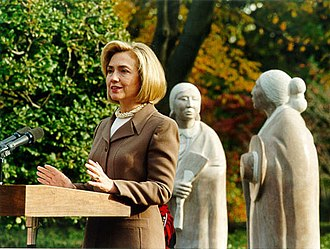 White House FBI files controversy - First Lady Hillary Rodham Clinton came under examination regarding whether she had had any role in hiring for the White House's Office of Personnel Security (photo taken at the Jacqueline Kennedy Garden).