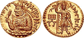 Huvishka - Coin of Kushan ruler Huvishka (152-192 CE), featuring Maaseno, the incarnation of the Karttikeya of the Yaudheyas.