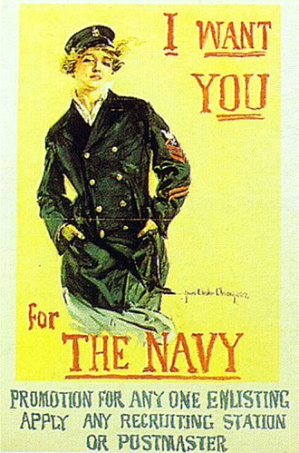 Home front during World War I - Navy poster by Howard Chandler Christy