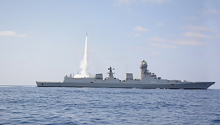 A Kolkata-class guided missile destroyer of the Indian Navy. INS Kochi test fires a Medium Range Surface to Air Missile, 2019 (1).jpg