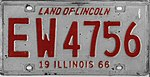 Illinois 1966 license plate - Number EW 4756.jpg