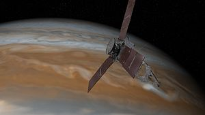 NASA Deep Space Network - Illustration of Juno and Jupiter. Juno is in a polar orbit that takes it close to Jupiter as it passes from north to south, getting a view of both poles. During the GS experiment it must point its antenna at the Deep Space Network on Earth to pick up a special signal sent from DSN.