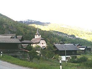 Inden, Switzerland - Inden church and surrounding village