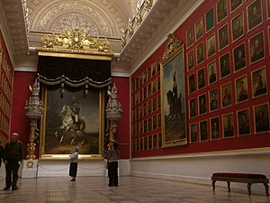 A hall of military fame in the Winter Palace with portraits of the Russian war heroes.