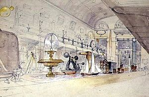University of Westminster - The interior of the Polytechnic in 1847, as drawn by G.F. Sargeant