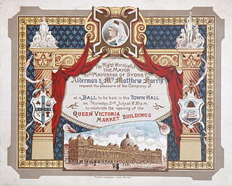 Queen Victoria Building - Blank formal invitation card to the ball in celebration of the opening of the Queen Victoria Market Building on Thursday 21 July 1898