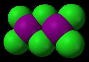 Iodine trichloride - Image: Iodine trichloride dimer 3D vd W