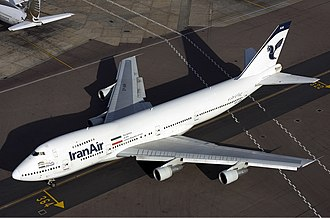 An Iran Air 747-100B, the last 747-100 in passenger service Iran Air Boeing 747-100 Lofting-1.jpg