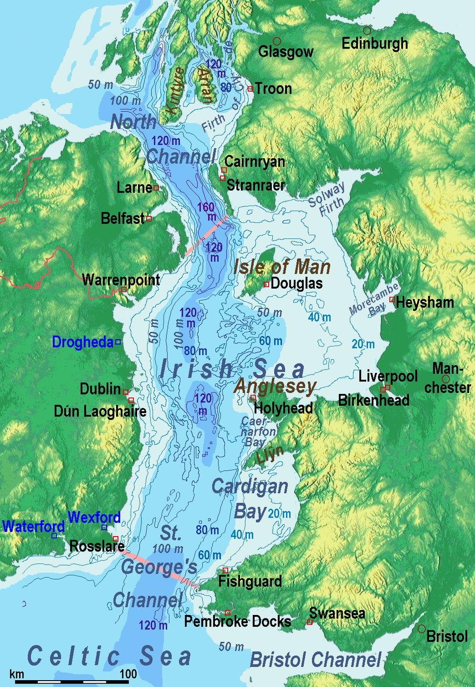 Irish Sea – relief, ports, limits